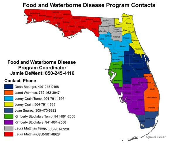 Food and Waterborne Disease Investigations Bureau of Epidemiology Map